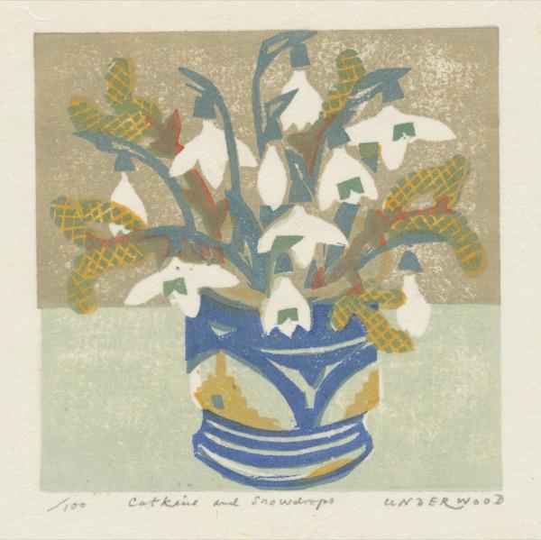 """Catkins and Snowdrops"" woodblock print by Matt Underwood"