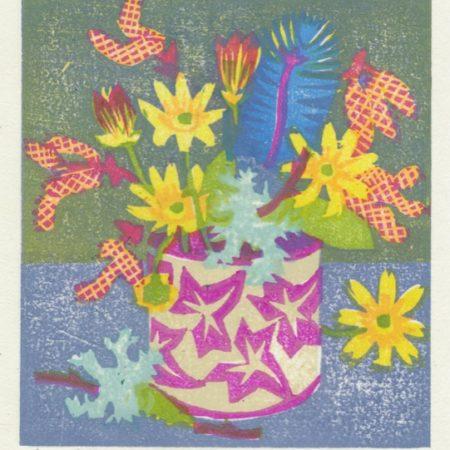 """""""Celandines and Lichen"""" woodblock print by Matt Underwood"""