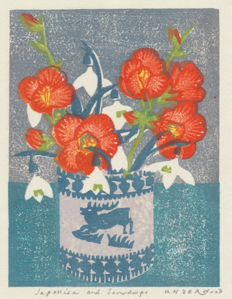 """Japonica and Snowdrops"" woodblock print by Matt Underwood"