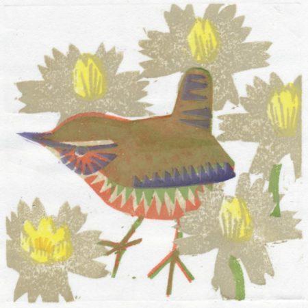 """Aconite Wren"" woodblock print by Matt Underwood"