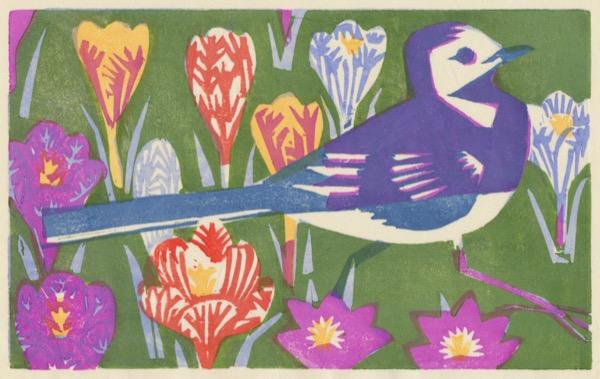 """""""Amelia's Garden"""" woodblock print by Matt Underwood"""