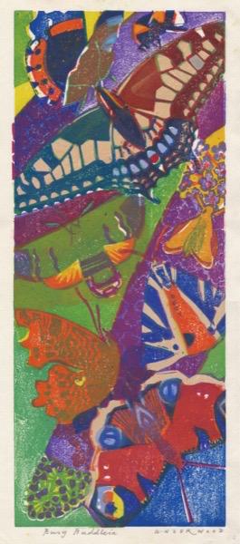 """""""Busy Buddleia"""" woodblock print by Matt Underwood"""