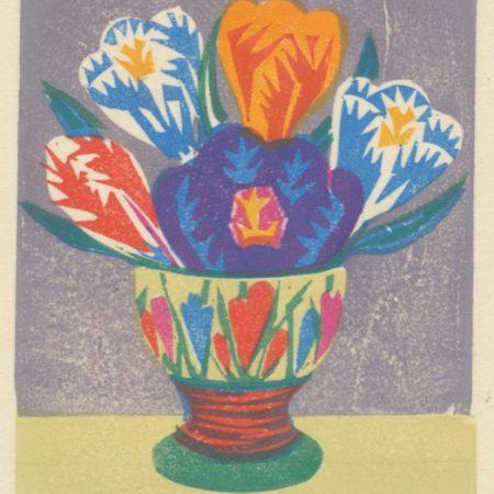 """Crocus Egg Cup"" woodblock print by Matt Underwood"