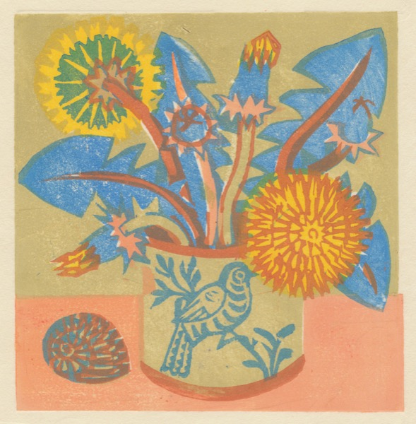 """Dandelions"" woodblock print by Matt Underwood"