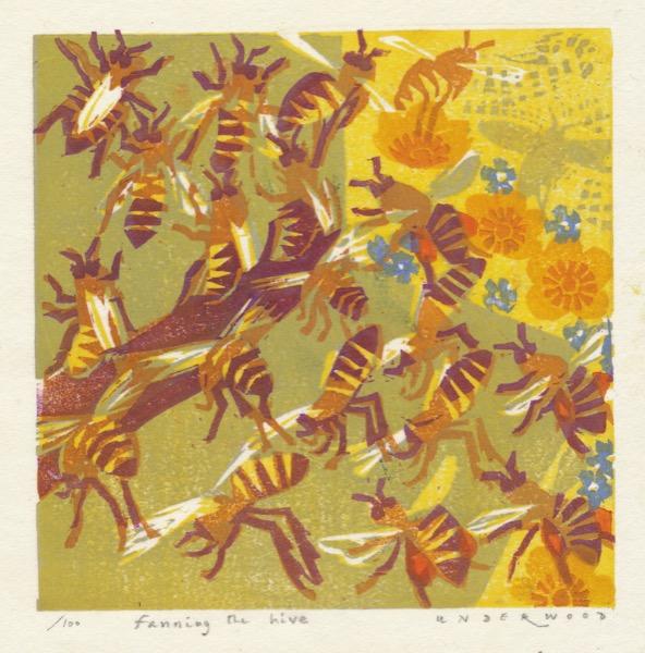 """Fanning the Hive"" woodblock print by Matt Underwood"