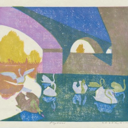 """Flyover"" woodblock print by Matt Underwood"