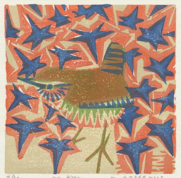 """Ivy Wren"" woodblock print by Matt Underwood"