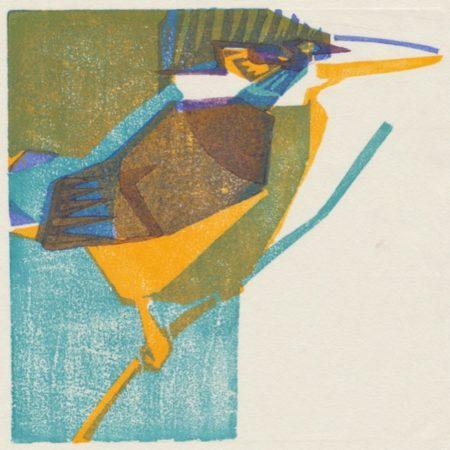 """""""Kingfisher"""" woodblock print by Matt Underwood"""