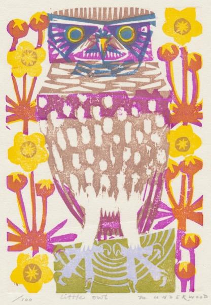 """Little Owl"" woodblock print by Matt Underwood"