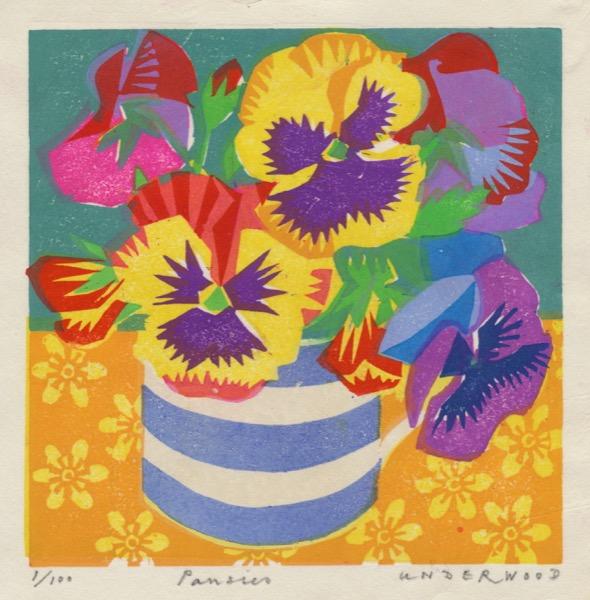 """""""Pansies"""" Woodblock print by Matt Underwood"""