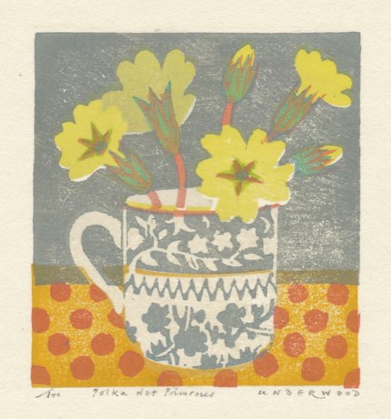 """Polka dot Primroses"" woodblock print by Matt Underwood"