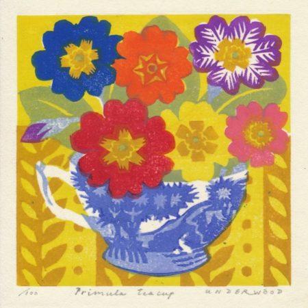 """Primula Teacup"" woodblock print by Matt Underwood"