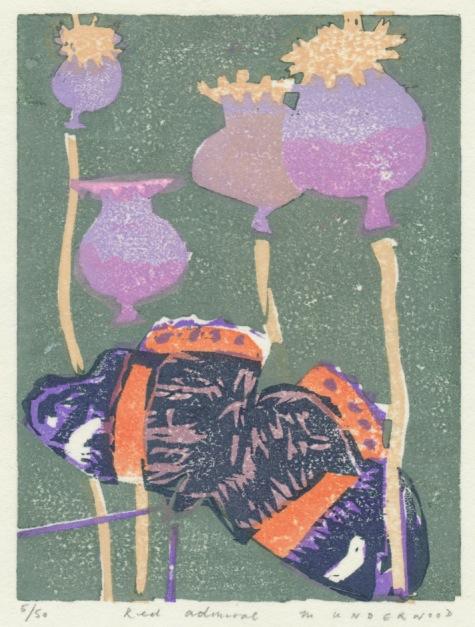 """""""Red Admiral"""" woodblock print by Matt Underwood"""