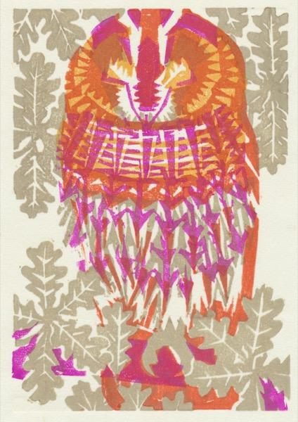 """Sleepy Tawny Owl"" woodblock print by Matt Underwood"