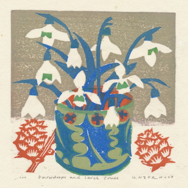 """Snowdrops and Larch Cones"" woodblock print by Matt Underwood"