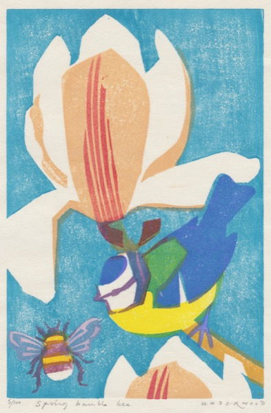"""Spring Bumblebee"" woodblock print by Matt Underwood"