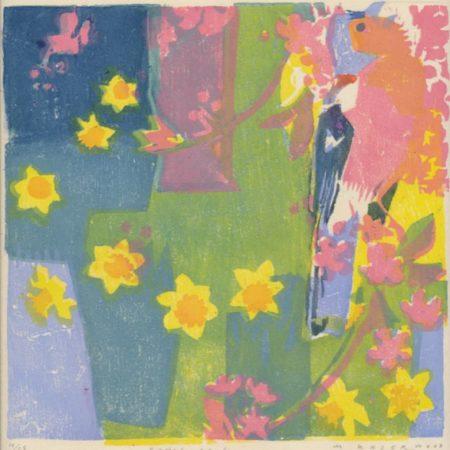 """Spring garden"" woodblock print by Matt Underwood"