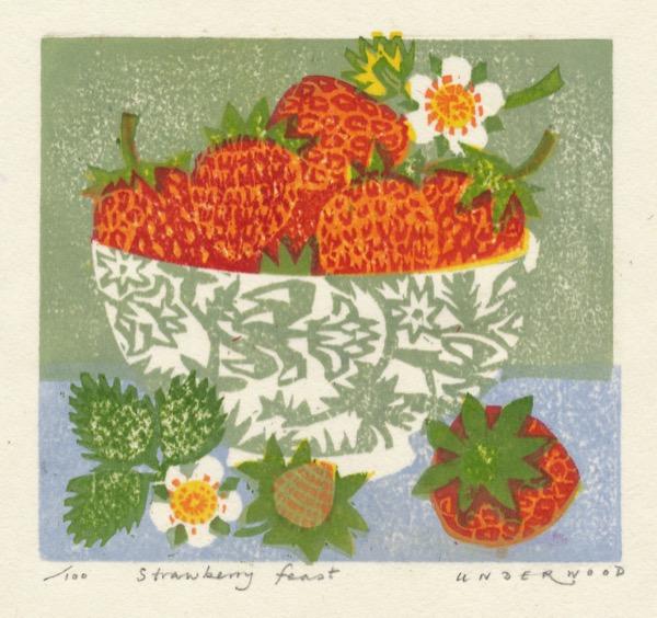 """Strawberry feast"" woodblock print by Matt Underwood"