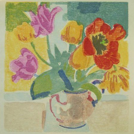 """Tulips"" woodblock print by Matt Underwood"