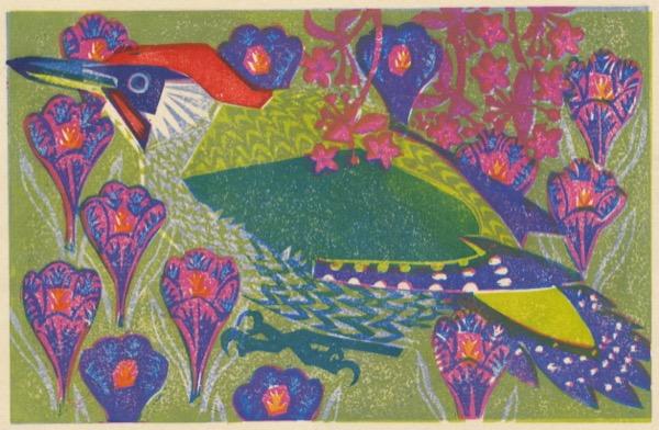 """""""Green Woodpecker"""" woodblock print by Matt Underwood"""