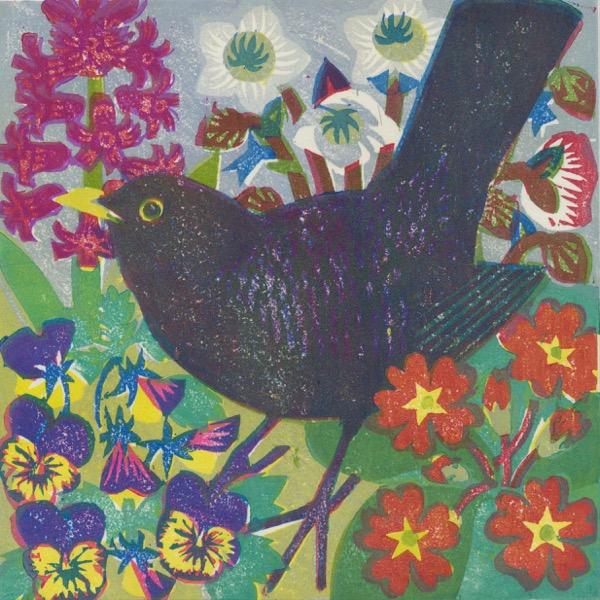 """Spring Blackbird"" woodblock print by Matt Underwood"