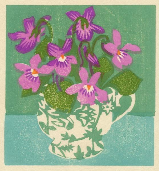 """Violet Teacup"" woodblock print by Matt Underwood"