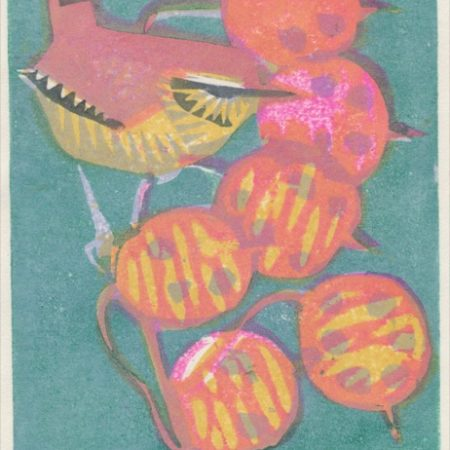 """Wren"" woodblock print by Matt Underwood"